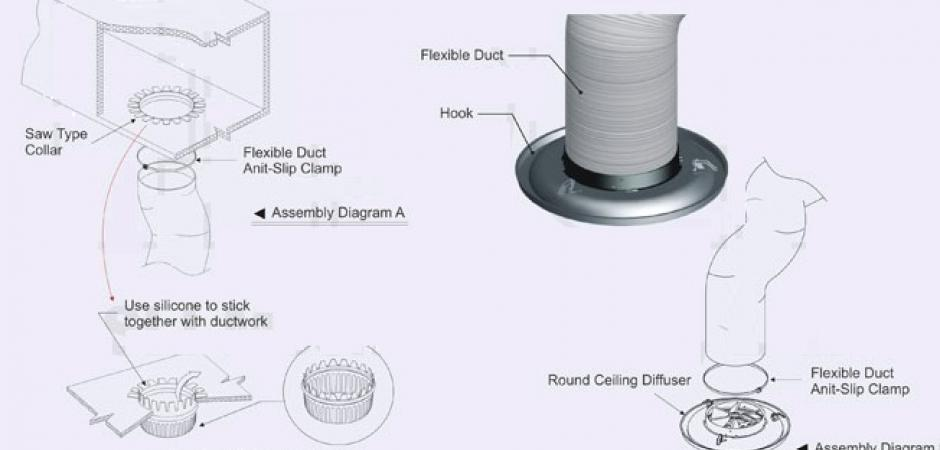 Ceiling Diffusers Installation Details : Round ceiling diffuser model krd king air grille
